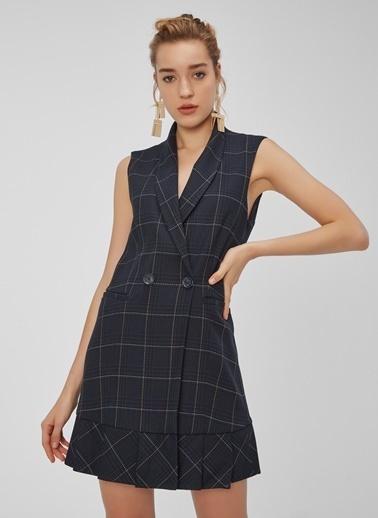 People By Fabrika Pilise Detaylı Elbise Lacivert